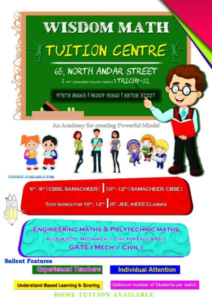 wisdom math tuition centre in teppakulam  trichy