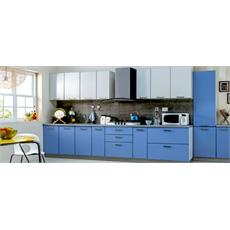 Cornflower Blue Light Grey Indian Straight Kitchen