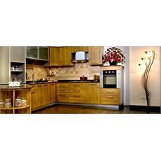 Light Oak Wood Indian L Shaped Kitchen